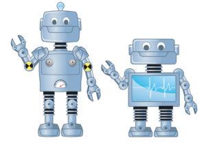 Two friendly robots send their greetings